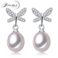 Real Freshwater pearl stud silver earrings for women,nice