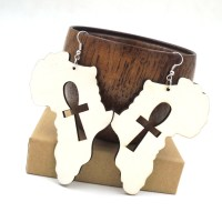 African map earring cross unfinished natural wood ankh big ...