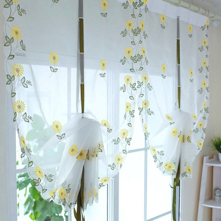 Sunflowers Shade Sheer Voile Cafe Kitchen Living Room Curtains 34inch