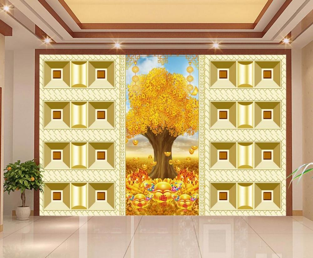 ΞMural 3d wallpaper Wall Decoration Golden Tree 3d wallpaper TV ...