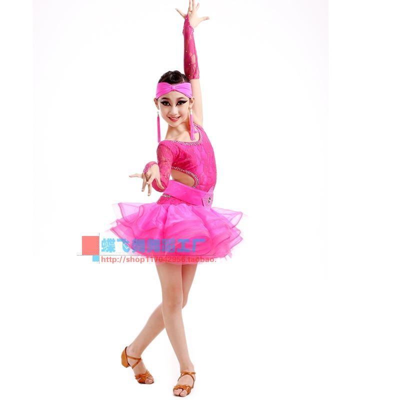 ⑦Adulto niño Latino traje de danza encaje único mangas Latino ...