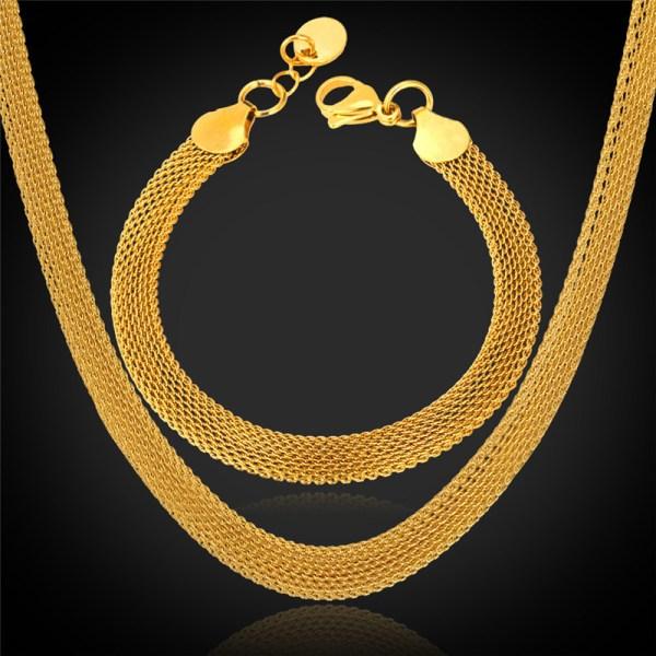 Trendy Bracelet Choker Necklace Set Jewelry Men '18k