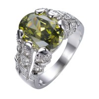 Male Peridot Ring White Gold Filled Jewelry Vintage ...