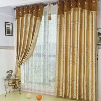 Gold embroidered gauze window full blackout curtains ...