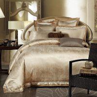 Gold/White/Blue Jacquard Silk Bedding Set Luxury 4pcs
