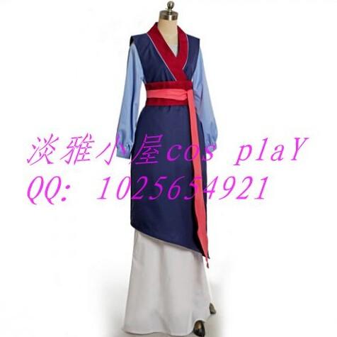 ⑦2017 mujer Cosplay adulto princesa Mulan traje azul vestido ...