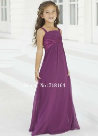 Purple chiffon long flower girl dress 2015 junior ...