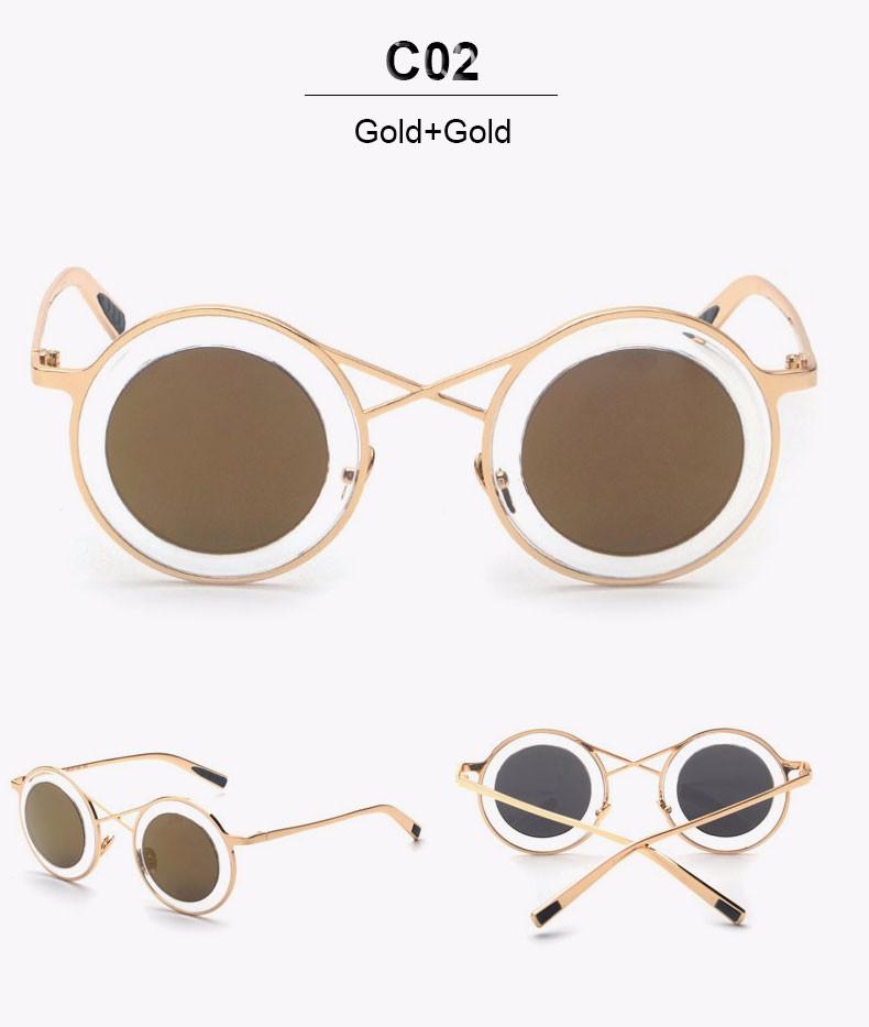 81118e1770 ⑦Espejo redondo Gafas de sol Steampunk hip hop diseñador de la ...