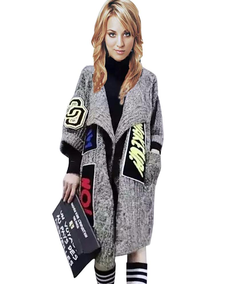 Women long Black cardigan Knit cardigan sweater coat 2016