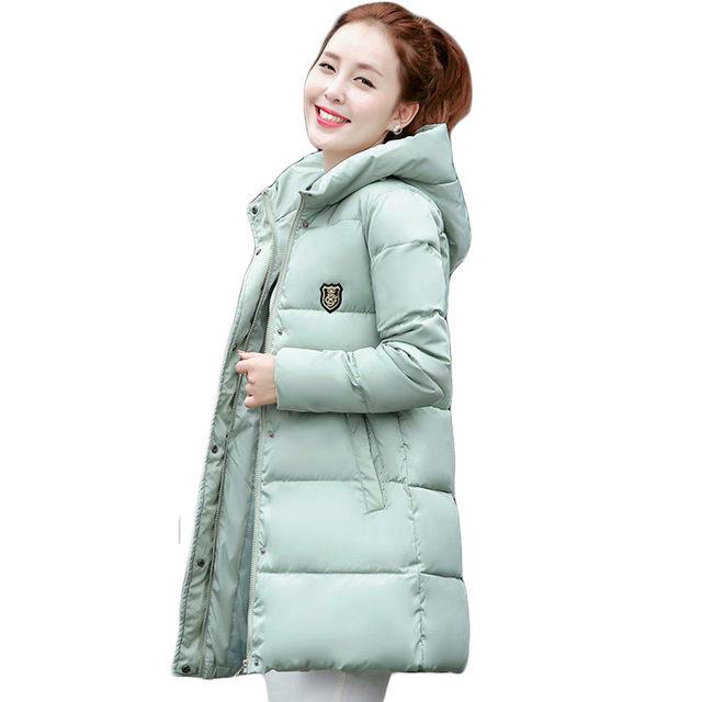 2016 Новый Корейский Зима Женщины Пальто Элегантный Чистый цвет Толщиной теплый Пуховик С Капюшоном Куртки Хлопка Высокого качества Крупных Женщин размер пальто