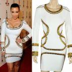 Kim Kardashian White and Gold Dress