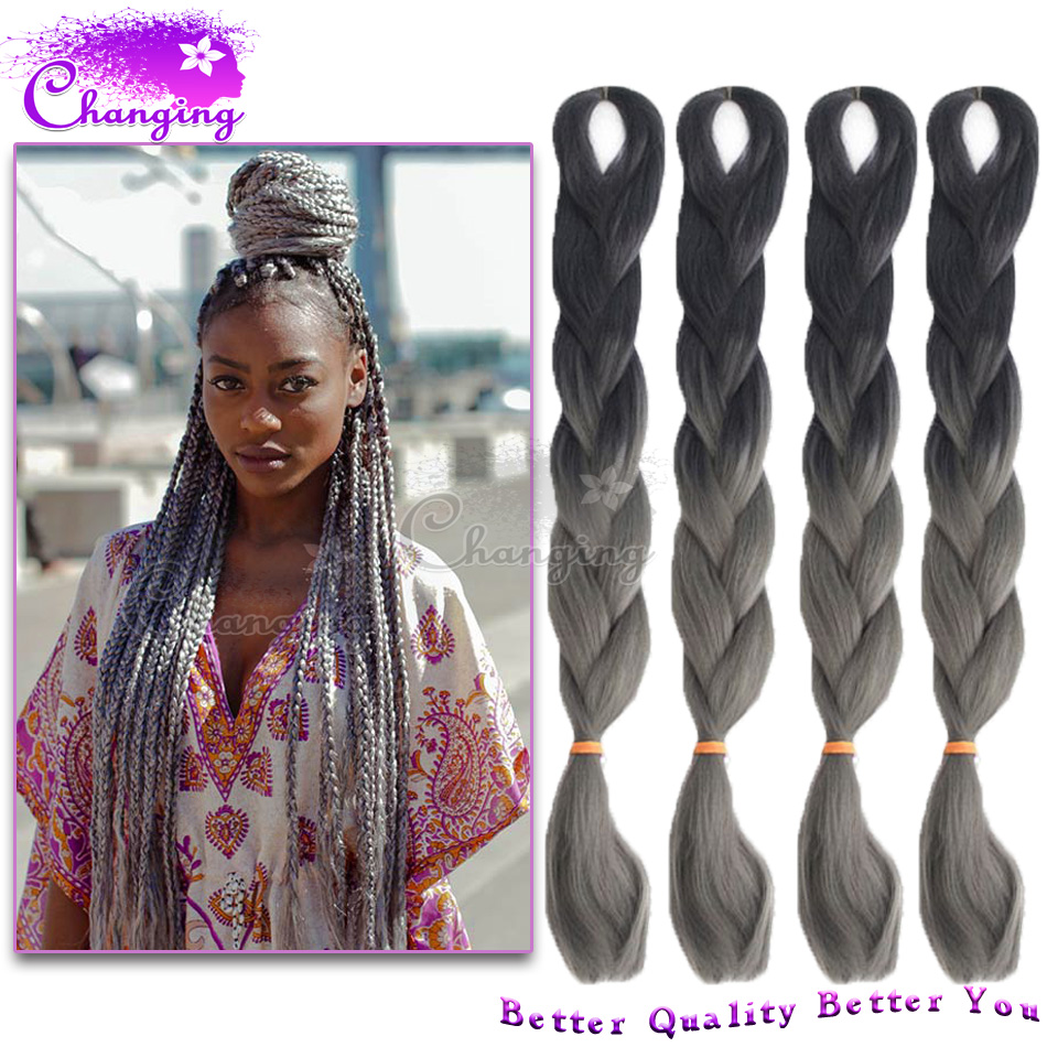 New Ombre Gray Braiding Hair 10pcs/Lot Two Tone Kanekalon