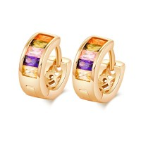 18k Gold Plated Colorful Round Hoop Earring Men Hinged and