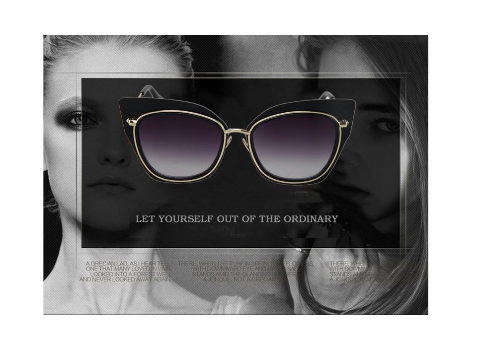 689b1ae4e6ab Мода Большой Рамки сплав Солнцезащитные очки для женщин Полосатый кот глаз  Очки леди темперамент 2016 Новинка бренд Дизайн Óculos де золь