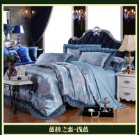 Trendy Bedding Sets.Blue Luxury Brand Lace Satin Jacquard ...