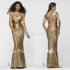 Long Gold Sequin Prom Dress