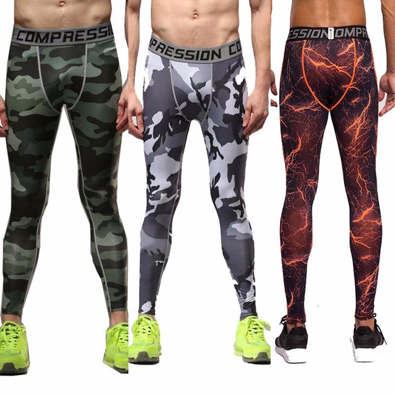 ✓Hombres deportes compresión bajo Pantalones Bases apretada larga ...