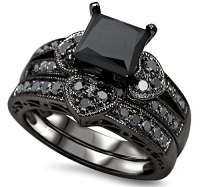 Luxury wedding ring set black zircon engagement ring ...