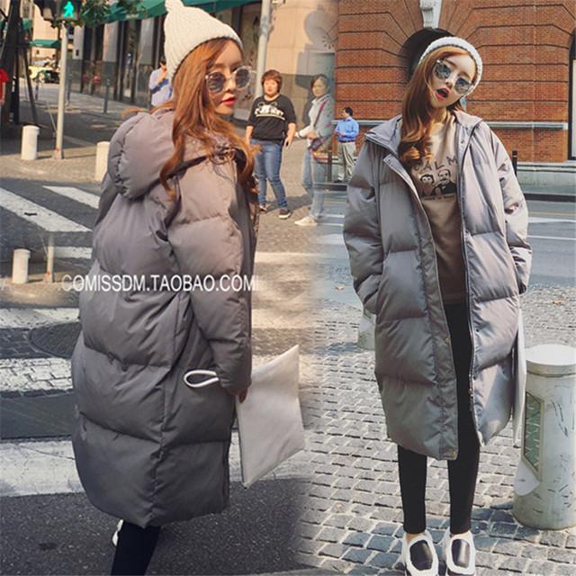 Корейский Негабаритных Вниз Пальто Женщин Зимняя Куртка Long Капюшоном Теплые Хлопка Мягкой Вниз Парки Черный Военная Куртка Плюс Размер 2XL 3XL