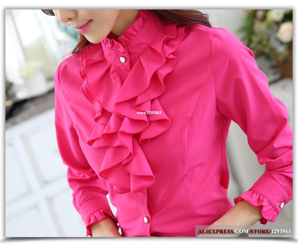 Lenshin Fashion female full sleeve women casual shirt office elegant Rose ruffled collar blouse ladies tops autumn wear