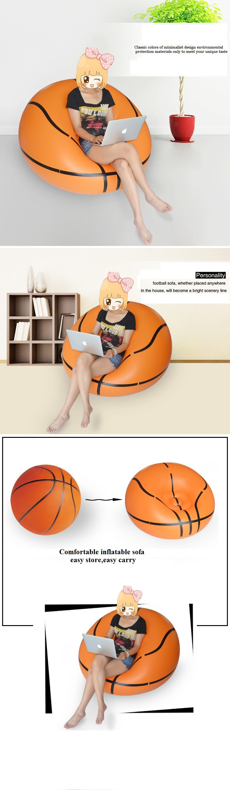 Basketball Bean Bag Chair Inflatable Stool Inflatable Sofa Bean Bag Sofa Basketball Sofa