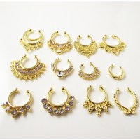 1 Piece Gold Crystal Nose Ring Fake septum rings Piercing
