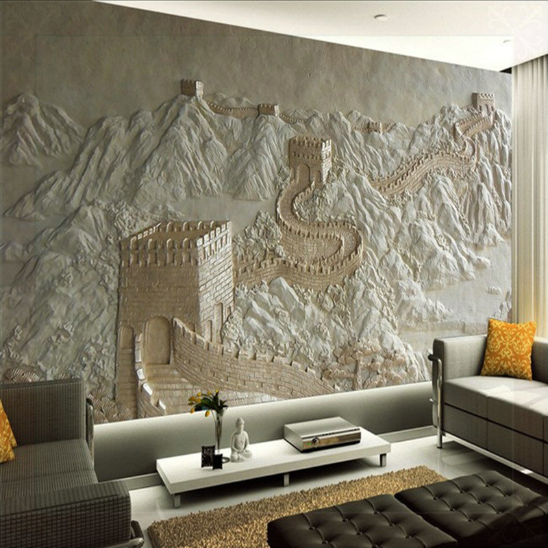 3D Wall Murals Wallpaper Great Wall Landscape for Living