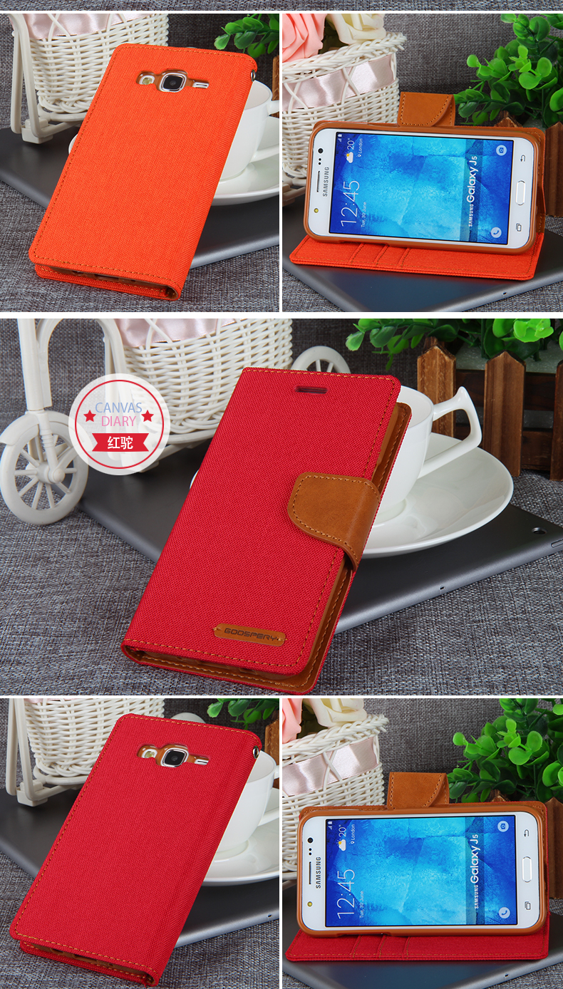 High Quality For Samsung J5 Phone Cases Goospery Fancy Canvas Galaxy 2016 Diary Case Orange Wallet Leather Cover Sm J500f