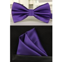 men navy purple bow tie bow tie and handkerchief set-in ...