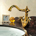 Factory Direct High Quality Patent Design Brass Single Handle Gold Basin Faucet Mixer Taps Solid Copper