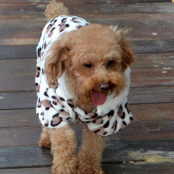 Suave perro de mascota mono del gato del perrito ropa fleece Leopard ... 6fbb457c1fe2f