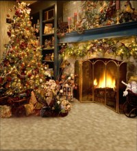 Vintage Christmas Tree Fireplace Backdrop 1.5x2m Computer ...