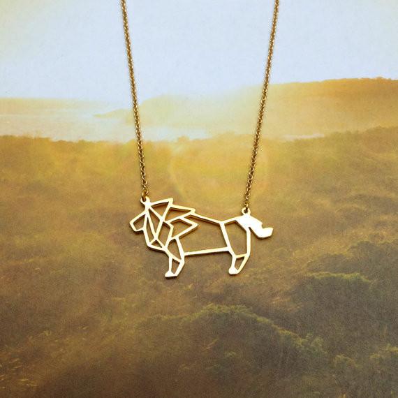 91e3179bee08 Venta al por mayor de oro plata color León collar mujeres origami  declaración collar León joyería kolye CS go collares