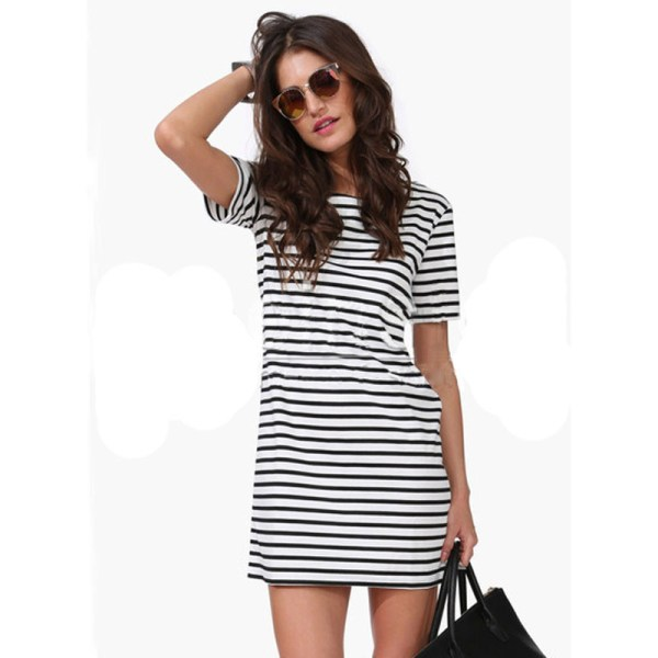 2015 Women Black And White Striped Dresses Summer Short