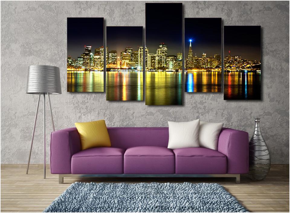 Hd gedrukt de nacht landschap stad schilderen op canvas kamer