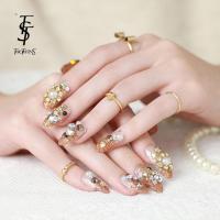 new fashion luxury diamond fake nails extension gold false ...