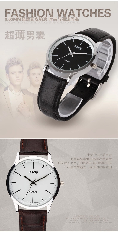 f087fe41b17 ₩Marca de moda de Luxo TVG Homens Simples Big Dial Relógio de Pulso ...