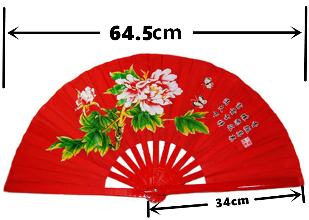 High grade Bamboo Tai Chi Fan with bag Double Sided Chinese Kung Fu Fan  Performance Red/Golden Martial Arts Fans Eight Diagram