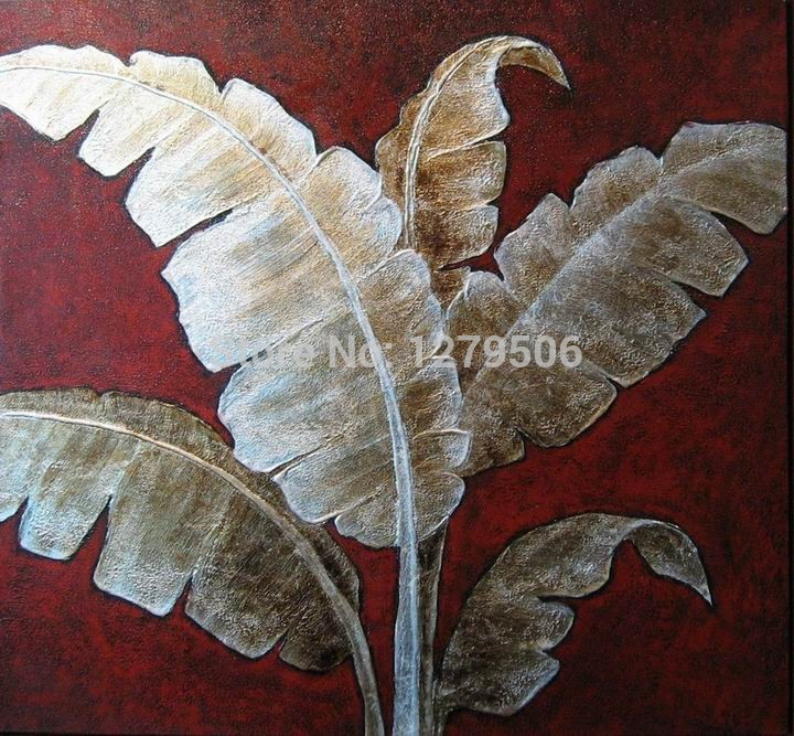 5fa1c6b64cec ... Abstract leaves painting on canvas,single golden leaves oil  paintings,abstract art home decoration