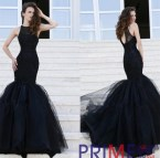 Long Black Lace Mermaid Prom Dress