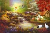 Large mural painting American country living room sofa ...