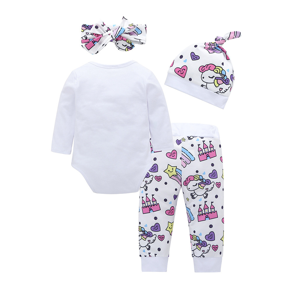 6e7c79d5b3 4pcs Baby Girls Boys Clothes Set Romper+Pants+Hat+Headband newborn clothing  Brand Infant Clothing bebes ropa recien nacid  20