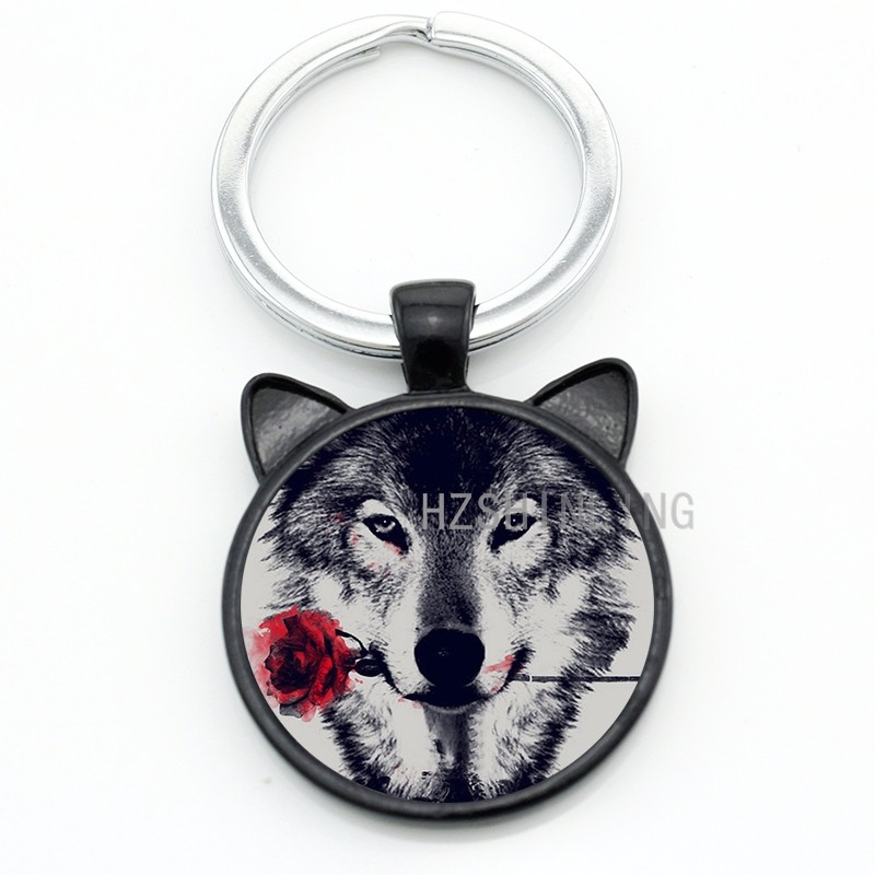 furuno transducer wiring diagram 2002 ford focus stereo vintage black wolf with flower rose keychain snarl snow keyring dire wild animal charms key chain ring holder jewelry cn782 us626