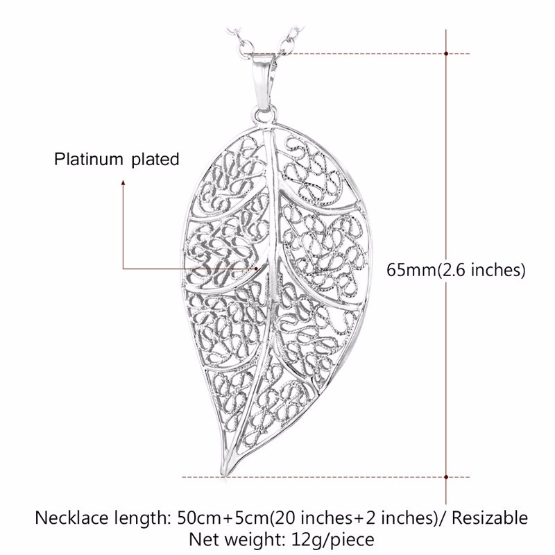 U7 Vintage Jewelry Leaf Necklace Women Goldsilver Color Fashion