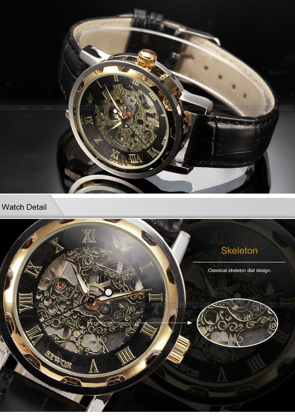 3df93dc4e814 Click here to Buy Now!! SEWOR Марка Hollow Скелет наручные часы Мода  Повседневное Механический ручной взвод часы человек часы Роскошный мужской  Бизнес кожа ...