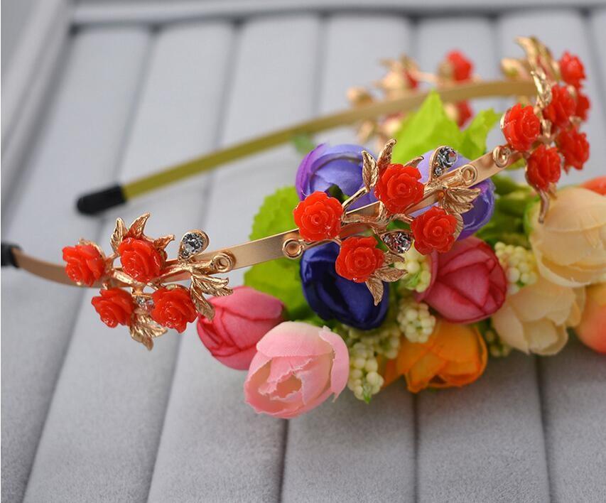 2018 barroco retro de lujo brillante oro deja cintas para el pelo de la  perla tridimensional rosas pelo accesorios de la venda del pelo 473ef8a3c8d4
