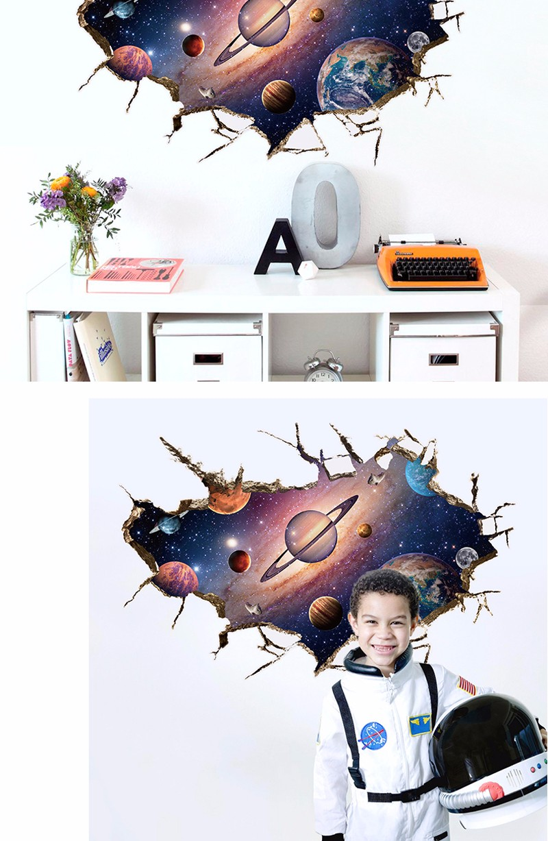 ᗖ3D Wall Sticker Outer Space Astronauti in Outer Space Window View ... b635f946f8e6