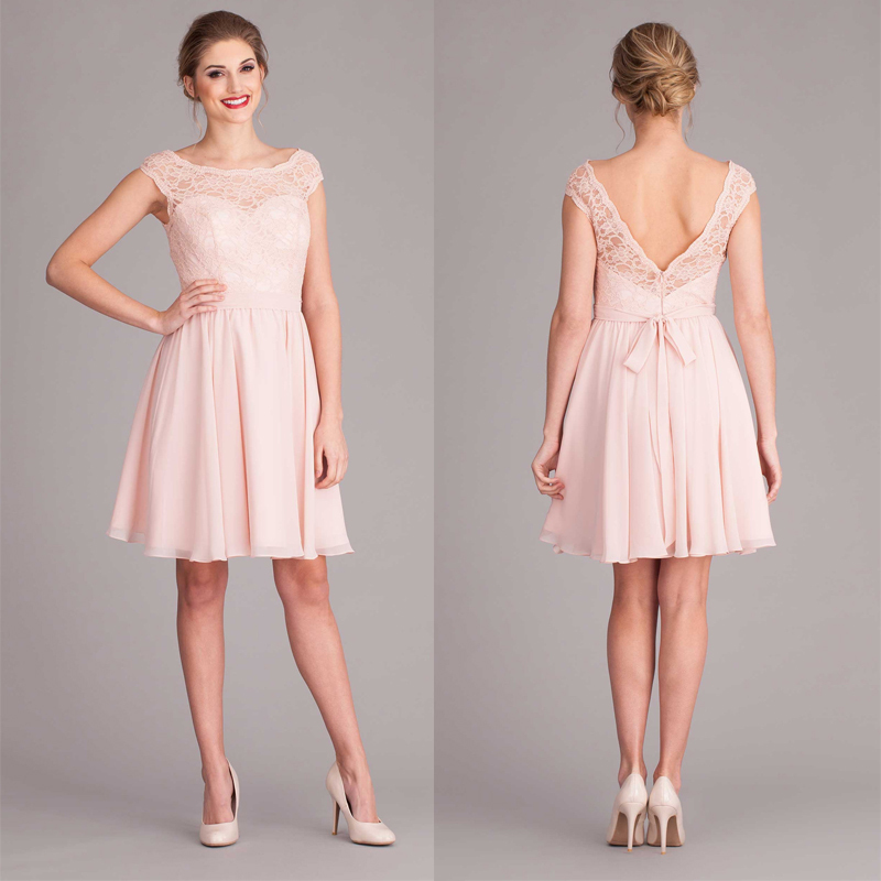 Pink V back cap sleeve short lace bridesmaid dress with