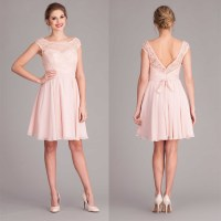 Pink V back cap sleeve short lace bridesmaid dress with ...