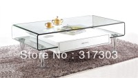 stainless steel foot, glass tea tables with drawer ...